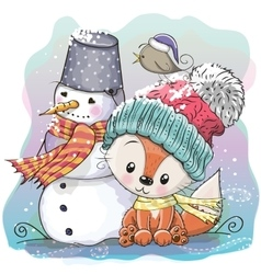 Cute Fox and snowman vector
