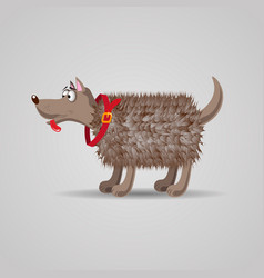 cute funny cartoon fluffy dog in a red collar vector image