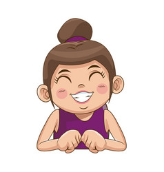 cute girl with her hair tied up in a bun cartoon vector image
