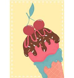 cute sweet chocolate strawberry ice cream waffle vector image