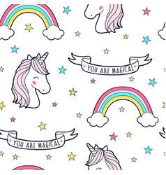 cute unicorn seamless pattern print design vector image