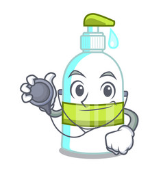 doctor liquid soap in the character bottles vector image