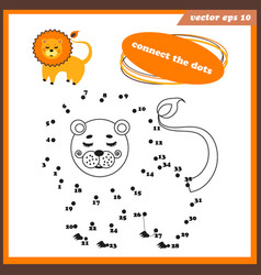 Dot to funny game for kids with lion vector