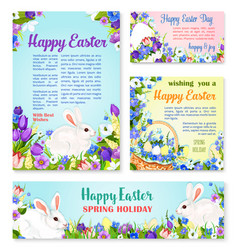 Easter egg and rabbit greeting banner template vector