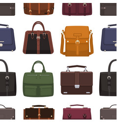 elegant seamless pattern with leather men s bags vector image