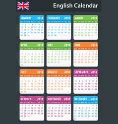 English calendar for 2018 scheduler agenda or vector