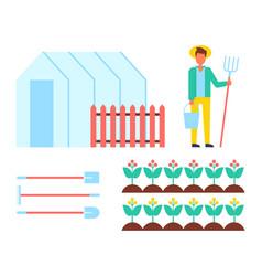 farmer man and spades icons vector image