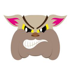 Flat icon on theme angry bulldog animal vector