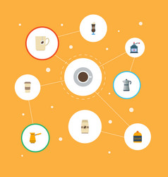 Flat icons mocha coffee mill moka pot and other vector
