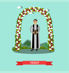 Flat priest under wedding vector