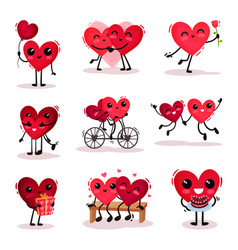 flat set of cute humanized hearts in vector image