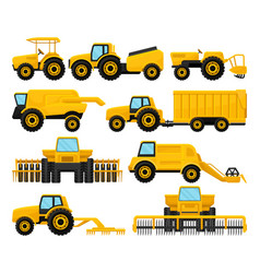 flat set of yellow agricultural machinery vector image