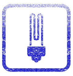 fluorescent bulb framed textured icon vector image