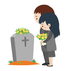 Funeral scene with man and woman vector