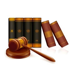 Gavel and books vector