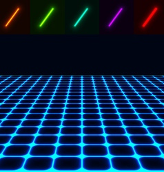 Glowing perspective floor - easy to change color vector