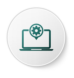 green laptop and gear icon isolated on white vector image
