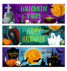 Halloween party banner with ghost on cemetery vector