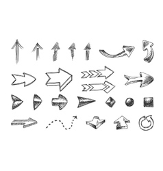 hand drawn arrows icons set vector image