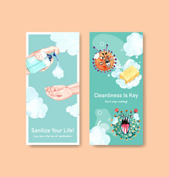 Hand sanitizer flyer template design with protect vector