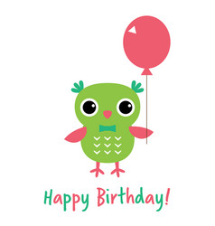 Happy birthday card with an owl vector