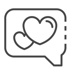heart in bubble chat icon outline style vector image