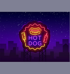 hot dog neon sign hot dog logo in neon vector image