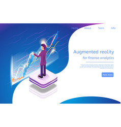 isometric augmented reality for finance analytics vector image