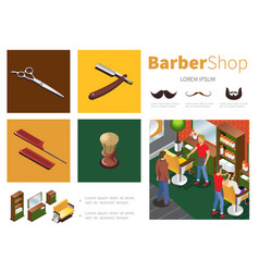 isometric barber shop infographic template vector image