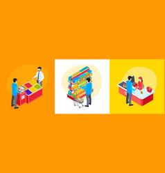 isometric supermarket design concept vector image