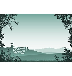 Landscape with Farm Gate vector