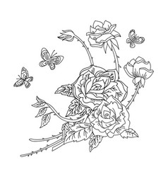 line art decorative rose composition vector image
