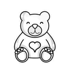 Line nice teddy bear toy to game vector