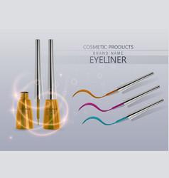 Liquid eyeliner set of bright orange color vector