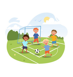 little children are playing football outside vector image