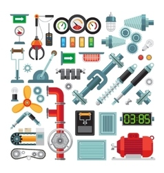 Machinery flat icons vector image
