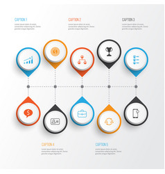 management icons set collection of goal personal vector image