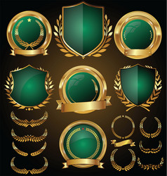 Medieval gold and green shields laurel wreaths vector