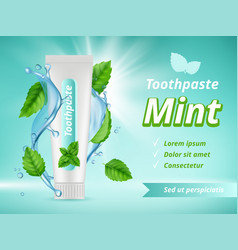 mint toothpaste dent protection oral care vector image