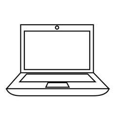 Monochrome contour with laptop computer vector