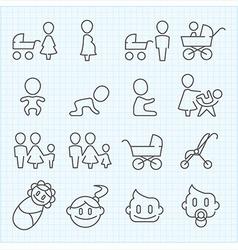 Motherhood and Childhood thin line icons set vector