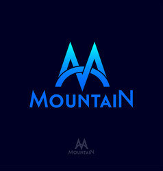 mountain logo m monogram blue peaks vector image