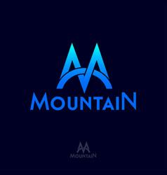 Mountain logo m monogram mountain blue peaks vector