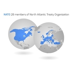 NATO member countries globes vector