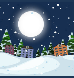night winter town landscape vector image
