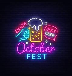 oktoberfest neon logo oktoberfest beer vector image