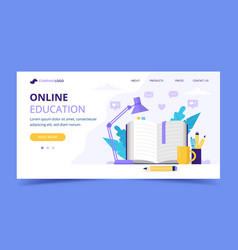 online education landing page with with open book vector image
