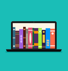 online library book in laptop ebook store vector image