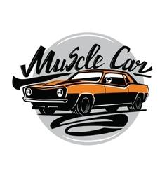 Orange muscle car vector