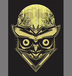 owl on forest silhouette background and moon hand vector image